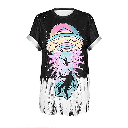 MHOTCIG Fashion Couple Tops Women Summer Casual T Shirt Punk Sleeve Printed T-Shirts,T-009,Medium