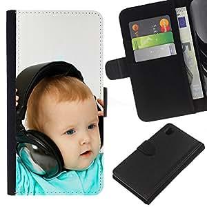Sony Xperia Z1 L39 C6902 C6903 C6906 C6916 C6943 , la tarjeta de Crédito Slots PU Funda de cuero Monedero caso cubierta de piel (Baby & Headphones)