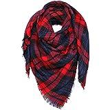 YQWEL Women's Plaid Scarf Oversized Fall/Winter Blanket Wrap Shawl (Red Dark Blue)