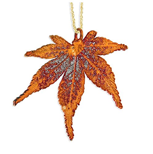 IceCarats Iridescent Copper Dipped Japanese Maple Leaf Gold Tone Necklace Chain