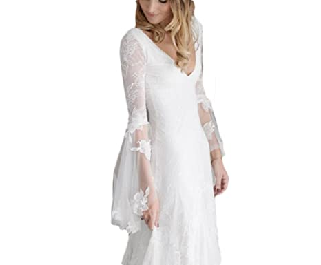 Mr.ace Homme Bohemia Boho Wedding Dress Deep V Neck Country Bridal Gown