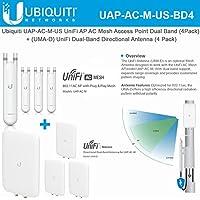 Ubiquiti UAP-AC-M-US UniFi AP AC Mesh Dual-Band Access Point (4 Pack) + UMA-D UniFi Dual-Band Directional Antenna (4 Pack)