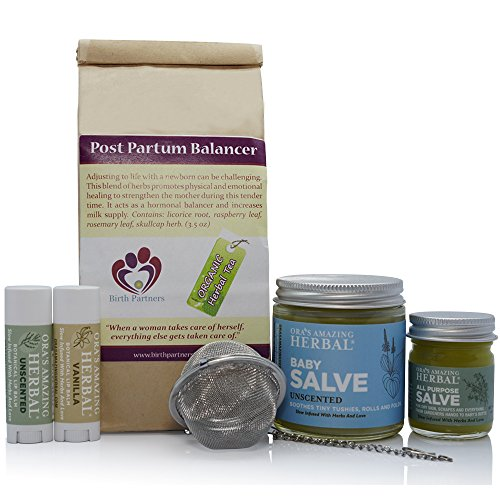 New Mama Natural Gift Box For A New Mother, With Organic Herbal Tea, Paraben Free Salve (Cream, Moisturizer, Ointment) for Baby and Postpartum Belly Care