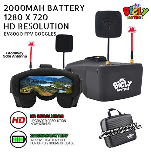 Bigly Brothers EV800D FX Edition Improved Battery Life and Upgraded Resolution 5inches 1280*720 5.8G 40 Channel Video Headset Build-in DVR & 3.7V 2000mAh Battery with Free Carrying Case