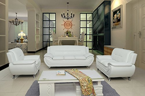 Container Furniture Direct S5399-3PC Michael 3-Piece Living Room Set, Cream White Contemporary Living Room Set