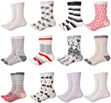 Mio Marino Womens Dress Socks - Colorful Patterned Socks for Women - 12 Pack Style 2-9-11