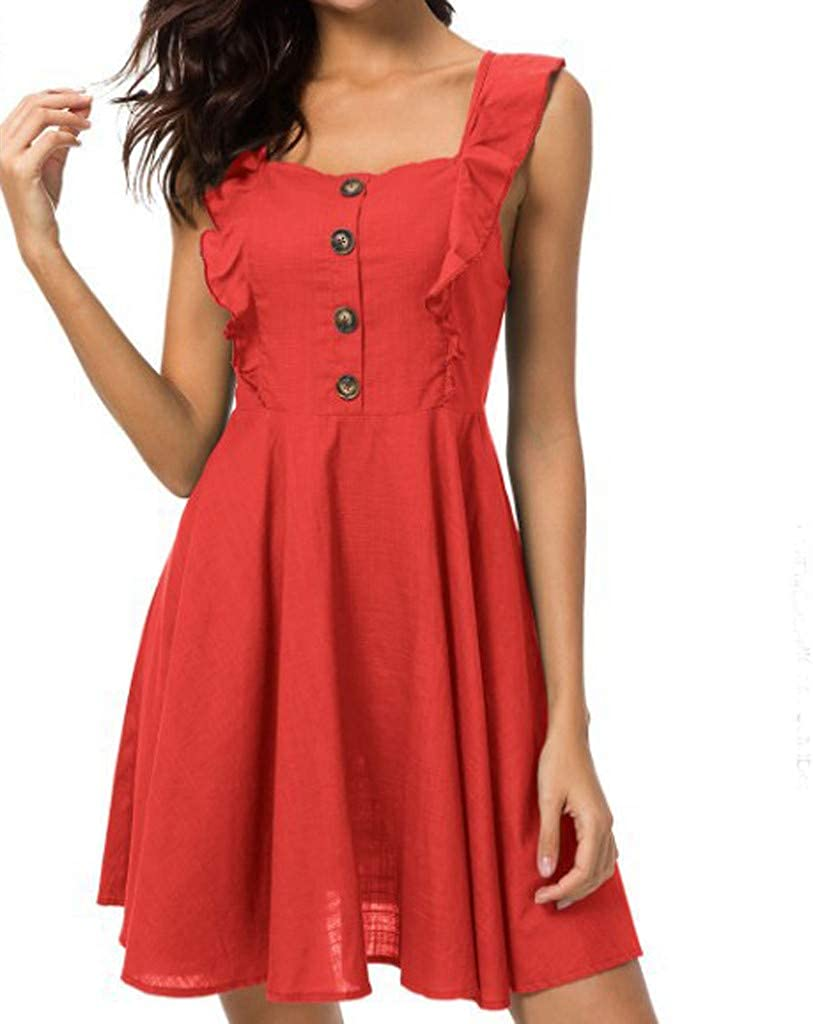 Dress for Women Sleeveless Button Up Ruffle Backless A Line Pleated Flowy Hem Summer Mini Dresses