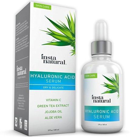 InstaNatural Hyaluronsaeure Serum für trockene Haut im Gesicht - Mit Vitamin C, organische und reine Zutaten für Falten, Faeltchen, Traenensaecke - Fortgeschrittene Antialterungs-Feuchtigkeitscreme für Maenner und Frauen - 2 OZ