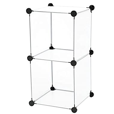 C&AHOME - DIY Bookcase Storage Organizer, Clothes Cabinet Cube of 2, Translucent