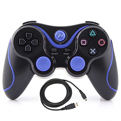 Kepisa Wireless Bluetooth Controller For PS3 Double Shock - Bundled with USB charge cord (BlackBlue)