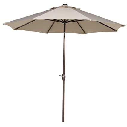 Abba Patio Outdoor Patio Umbrella 9 Feet Market Aluminum Table Umbrella with Auto Tilt and Crank, 8 Ribs, Beige
