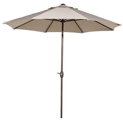 Abba Patio Outdoor Patio Umbrella 9 Feet Market Aluminum Table Umbrella with Auto Tilt and Crank, 8 Ribs, Beige