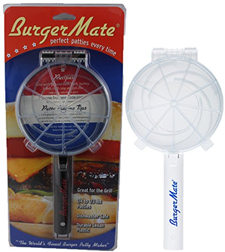 Non-Stick The Burger Mate As Seen On TV! Burger Press Hamburger Patty Maker for BBQ Grill, Parties, Dinner, and more (White & Black) by The Burger Mate