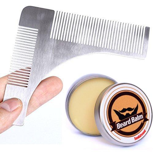 Beard Shaping Tool & Beard Balm Kit for Men Care - Stainless Steel Beard Template Comb, Beard Cream (Body Balm Curve)