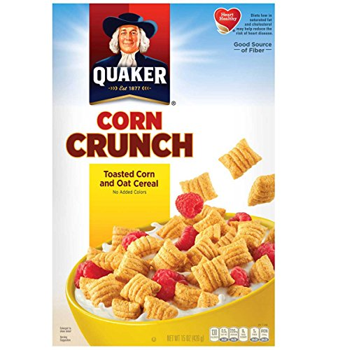 Quaker Corn Crunch- Toasted Corn and Oat Cereal 10.5 Oz   (Pack of 1) (Crunchy Corn Bran)