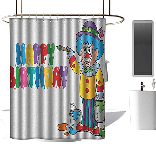 (Qenuan Shower Curtain Liner Resistant Kids Birthday,Happy Clown for Party with Colorful Painting Drawing Style Buckets Print, Multicolor,Print Polyester Fabric Bathroom Decor Sets with Hooks 36