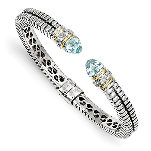 Sterling Silver Cuff Hinged Polished Prong set Antique finish With 14k Diamond and Blue Topaz Bangle