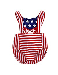 4Young American Flag Baby Jumpsuits Striped Sling Babywear for 0-2 Years Girls