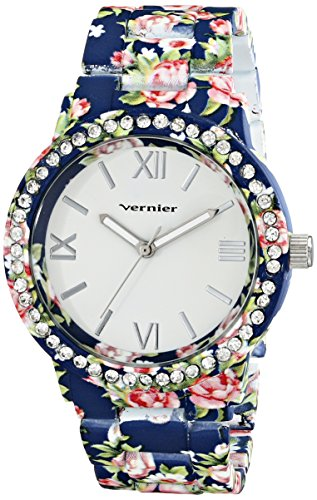 Vernier Women's VNR11168BL Blue Floral and Rhinestone Watch by Vernier