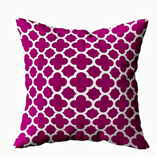 Musesh Quatrefoil Pattern Magenta White Cushions Case Throw Pillow Cover for Sofa Home Decorative Pillowslip Gift Ideas Household Pillowcase Zippered Pillow Covers 18X18Inch (Magenta Home)
