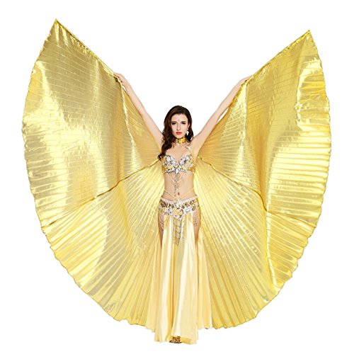 Dance Fairy Belly Dance Isis Wings Performance Costumes,Gold(No Sticks) - Sexy Belly Dancing Costumes