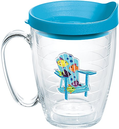 Tervis 1137802 Tropical Fish Adirondack Chair Insulated Tumbler with Emblem and Turquoise Lid, 16oz Mug, Clear