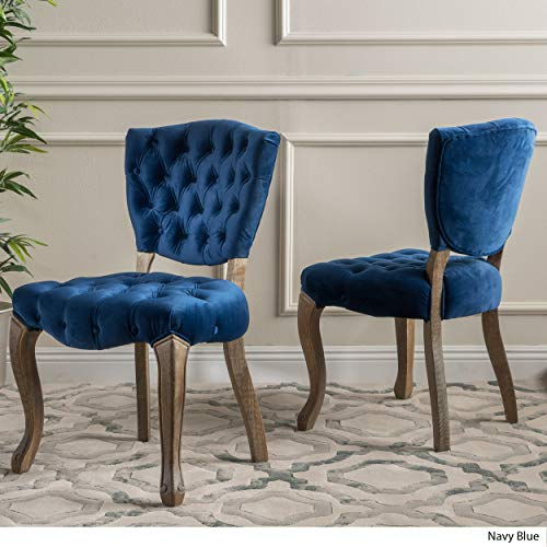 Christopher Knight Home 299874 Bates Tufted New Velvet Dining Chairs (Set of 2) Navy Blue by Christopher Knight Home (Image #2)