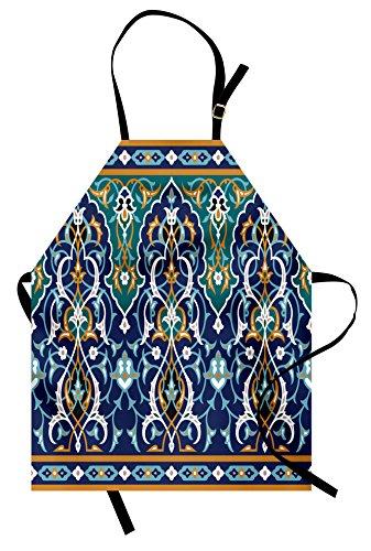 Ambesonne Moroccan Apron, Ethnic Oriental Figure Petals Hippie Vintage Tribal Mosaic Design, Unisex Kitchen Bib Apron with Adjustable Neck for Cooking Baking Gardening, Blue Mustard