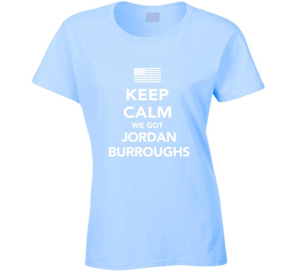 Jordan Burroughs Keep Calm USa 2016 Olympics Wrestling Ladies T Shirt 2XL Light Blue