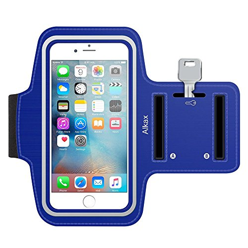 iPhone 6S Armband, iPhone 6 Armband, iPhone SE Armband, iPhone 5S Armband,Alkax Sports Exercise Water Resistant Armband Running Pouch Touch With Key Holder For Walking+One Free Stylus Pen(Dark Blue)