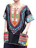 RaanPahMuang Unisex African Dashiki Kaftan Shirt all sizes XS - 7XL All Colours, XXXXXXX-Large, New Black Red
