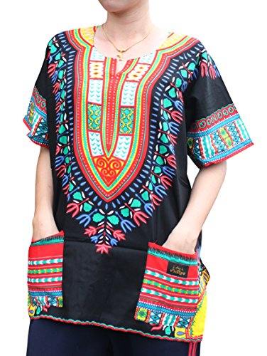 RaanPahMuang Unisex African Dashiki Kaftan Shirt all sizes XS - 7XL All Colours, XXXXXXX-Large, New Black Red by Raan Pah Muang