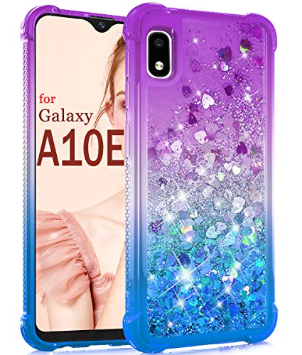 Dzxouui for Galaxy A10E Case,Samsung Galaxy A10E Case,TPU Protective Cover for Girls and Women Glitter Bling Sparkle Cute Phone Case for Samsung Galaxy A10E(Purple/Blue)