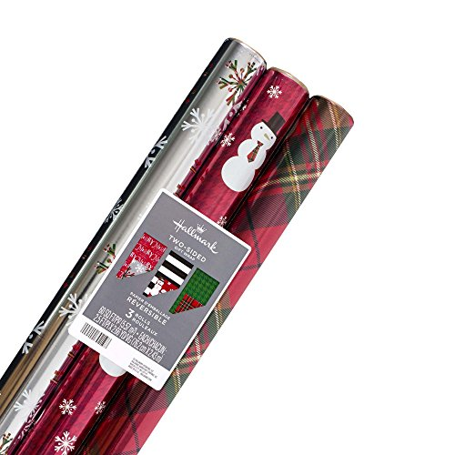 Hallmark Reversible Christmas Wrapping Paper Bundle, Contemporary Foil (Pack of 3, 60 sq. ft. ttl.) (Wrap Gift Christmas Stripe)