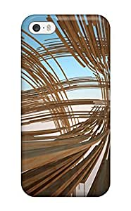 DeniseMA Iphone 5/5s Hybrid Tpu Case Cover Silicon Bumper Wood Lines D Brown Blue