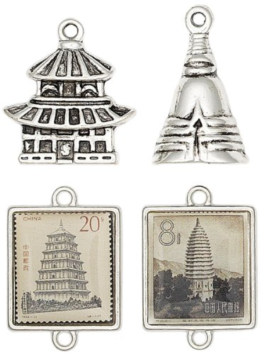 Blue Moon Orient Express Metal Charms, 4/Pkg, Asian I, Antique Silver from Blue Moon Beads