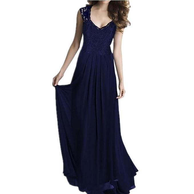 4be08c4955da3 yyfs Mujer clásico elegante encaje sin mangas de gasa vestido de baile de  graduación escote largo
