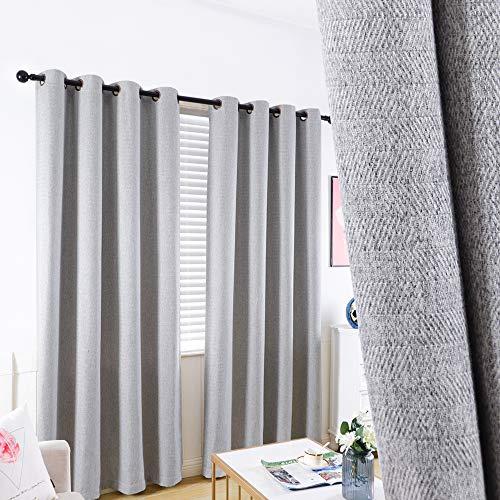 GRALI Light Gray Grommet Curtains, Zigzag Pattern Panels for Living Room/Kid's Room, Room Darkening Drapes 84