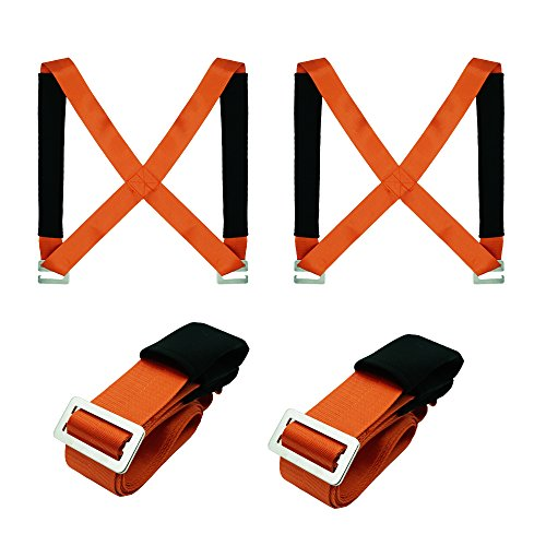 TEZCRT Lifting Moving Straps Carrying Belt Max Load 650 Pound Easy Carry Furniture, Appliances, Mattresses, or Any Heavy Object 2 Person (Orange)
