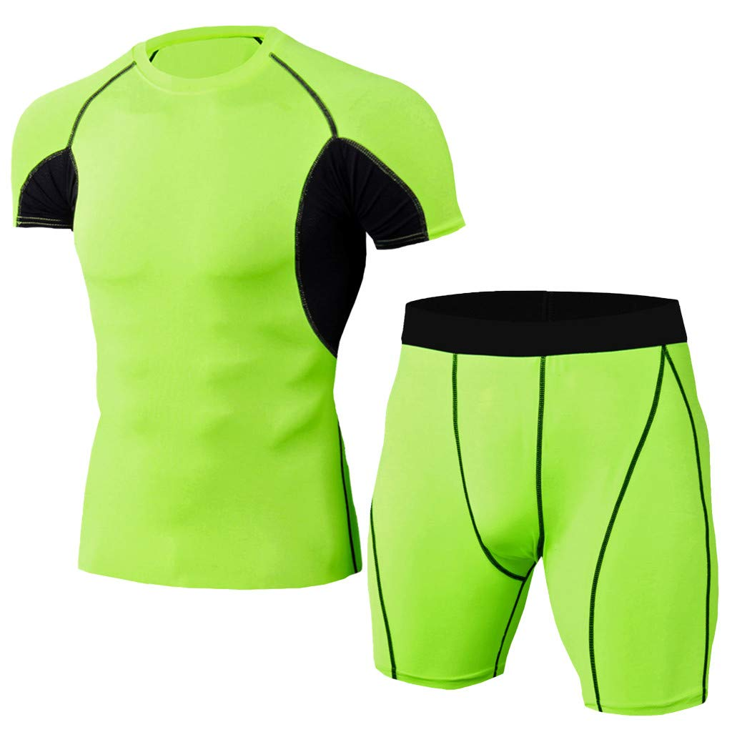 Forthery Big Promotion!Men'S Elastic Fitness T-Shirt - Fast Drying Tops Short Pants Sports Tight Suit