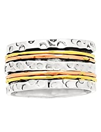 Lovegem TWO TONE SPIN MEDITATION Ring 925 Sterling Silver,Size :7.5, AR1683