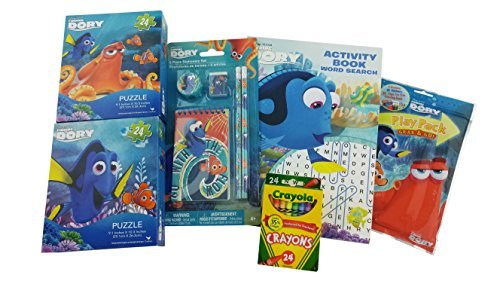 Dory Stationary Puzzle Bundle Gift for Kids | 5 Items Included: Activity Book Word Search Book, Play Pack, 5 piece Stationary Kit, 2 Puzzles and one box 24 Crayola Crayons