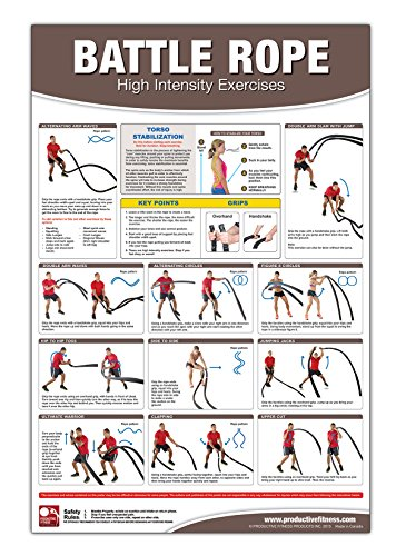 Battle Rope Poster/Chart: High Intensity Training - Battle Rope - HIIT - HIT - Rope Exercises - Fast Fat loss - Intense workout - ... Rope - High Intensity Interval Training (Best Trx Exercises For Arms)