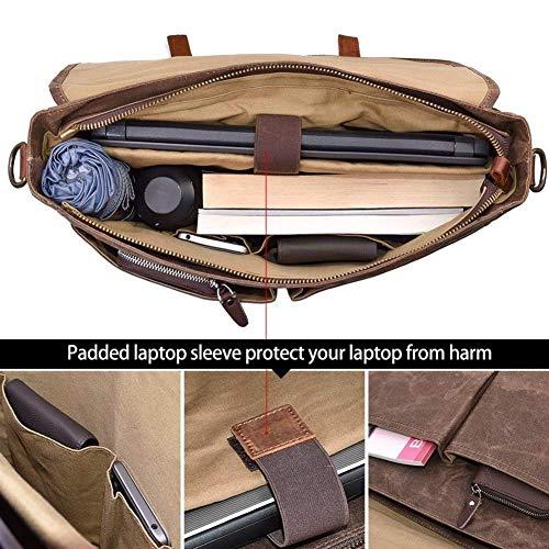Herraxelväska, 39,6 cm, vattentät, vintage, äkta läder, vaxad, linne, stor, axelväska, axelväska av robust läder (färg: brun)