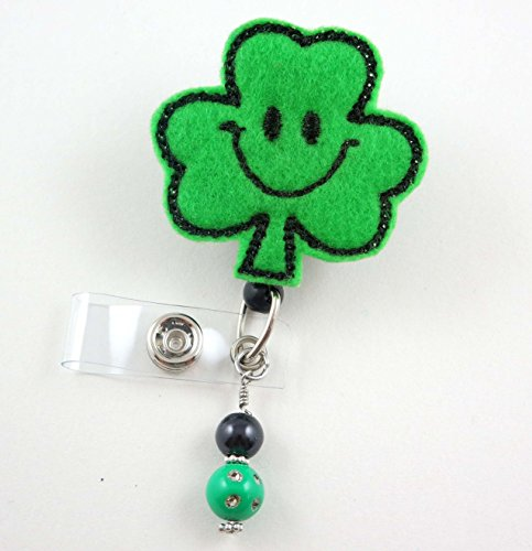 St Patrick's Day Clover - Nurse Badge Reel - Retractable ID Badge Holder - Nurse Badge - Badge Clip - Badge Reels - Pediatric - RN - Name Badge Holder