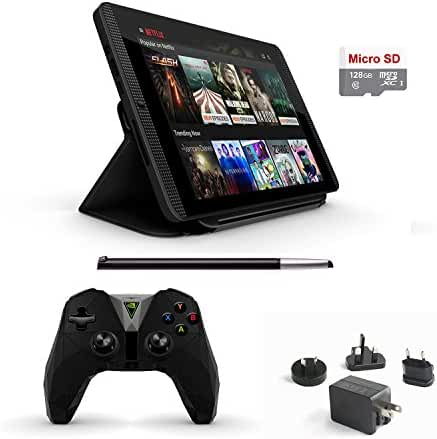 Nvidia Shield Tegra K-1 16GB Gamer Tablet Complete Traveler's 6 items Deluxe Bundle: Nvidia Shield Gaming Tablet, Newer Version Controller, NVIDIA DirectStylus 2, Cover, Mytrix Wall Charger,128GB Card