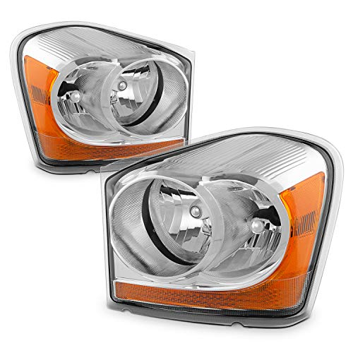 Dodge Durango Parts - For Dodge Durango OE Replacement Chrome Bezel Headlights Driver/Passenger Head Lamps Pair New