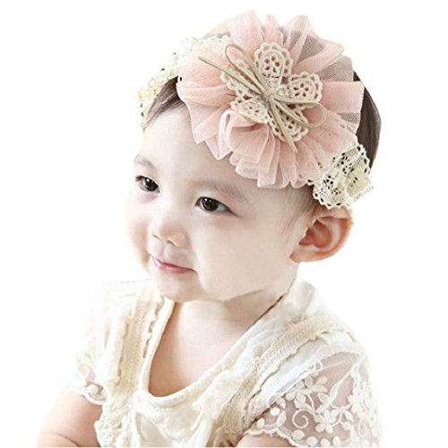 Shensee New Sweet Kids Baby Flowers Headband Lace Bow Hair Wear Hairband Ribbon Pink