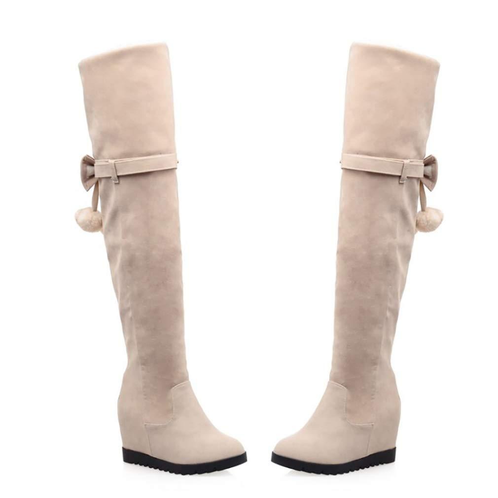 HY Damen Hohe Stiefel Wildleder Herbst Winter Winter Winter Plus Kaschmir Overknee Stiefel Ladies Inside Erhöhen Große Schneeschuhe Stiefel (Farbe   B Größe   42) ed2b15