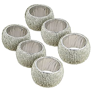 Lot of 6 Pieces Napkin Rings Silver Indian Handmade Glass Beaded For Special Occasions Dinners Parties Everyday - Set of 6 Rings